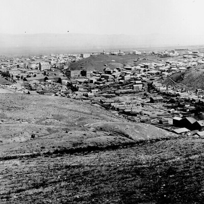 Panorama of Helena, Montana, in 1870 (or possibly 1872, per other source).
