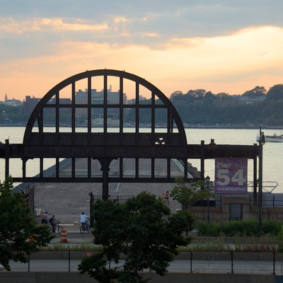 Remant of White Star Line Pier on Hudson River with Hoboken in background from the High Line, New York (2012)
