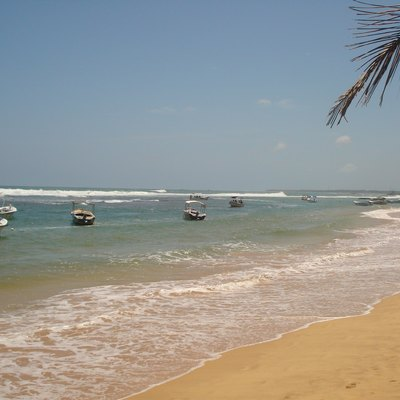 Fishing boats near the Hikkaduwa beach.