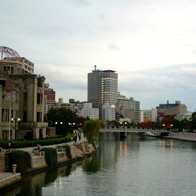 Atomic Bomb Dome and modern buildings
