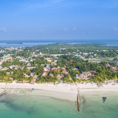 Holbox city aerial