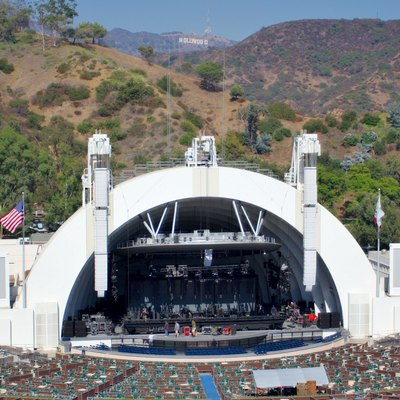 The Hollywood Bowl amphitheatre, stage and Hollywood sign in mountains behind