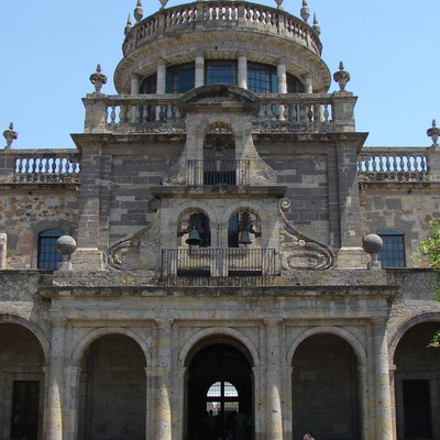 Facade main internal Cultural Center Cabins, in the city of Guadalajara, Mexico.