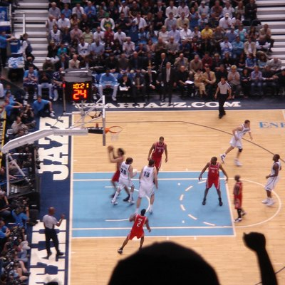 Houston Rockets and Utah Jazz playing at EnergySolutions Arena in 2008
