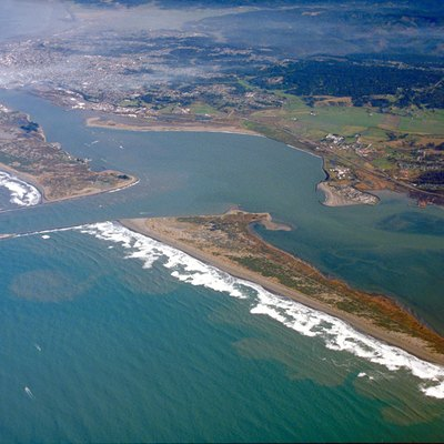 Aerial view of Humboldt Bay and the city of Eureka in Humboldt County, California, USA. View is to the northeast.