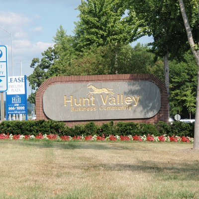 Welcome sign at the entrance to the Hunt Valley Business Community in Cockeysville-Hunt Valley.