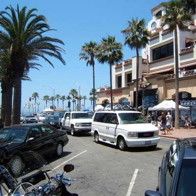 Street Leading To The Pier In Huntington Beach, California, Usa,