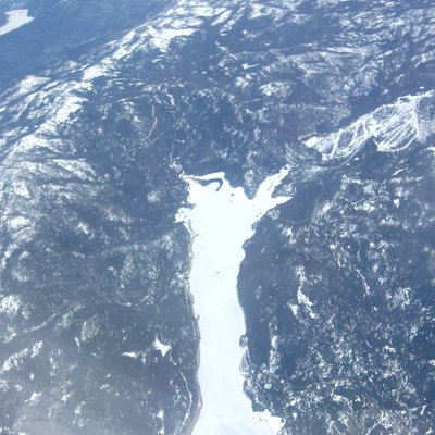 Aerial photograph of Huntington Lake a reservoir in the Sierra Nevada, Sierra National Forest, Fresno County, California
