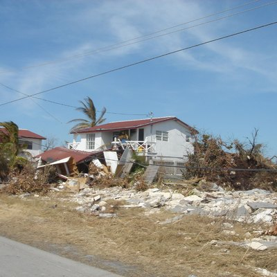Damaged homes in the Bahamas in the aftermath of Hurricane Wilma in 2005.