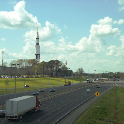 Photograph of Interstate 565 as it passes by the US Space and Rocket Center in Huntsville, Alabama; taken by Larry Wilbourn