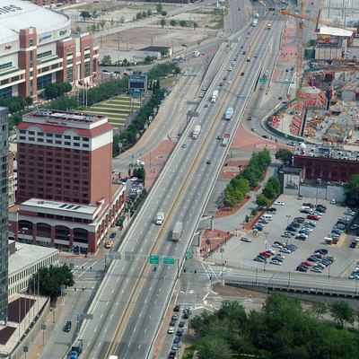 interstate 70 Passing Through Downtown St. Louis, Missouri. Photographed June 15, 2006 From The Jefferson National Expansion Memorial, St. Louis, Missouri By Kelly Martin.
