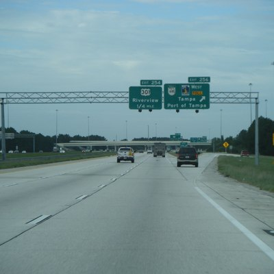 Southbound Interstate 75 at the exit for Florida State Road 618/Lee Roy Selmon Expressway (exit 256) in Brandon