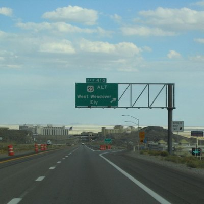 I-80 Eastbound Approaching West Wendover, Nevada. U.S. Route 93 Alternate Ends Its Concurrency With I-80 Here. This Is Also The Unsigned Wendover Boulevard / Business I-80 Interchange.