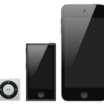 The iPod line as of 2014; from left to right: iPod Shuffle, iPod Nano, iPod Touch