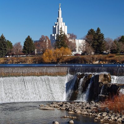 Idaho Falls on Snake River with Idaho Falls, Idaho Temple in background