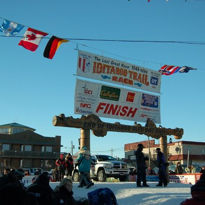 The Burled Arch in Nome, Alaska, the finish line of the Iditarod race