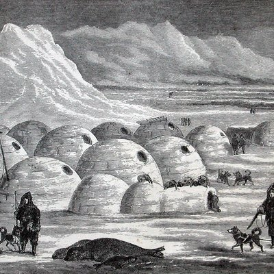 Photograph of a book illustration of an Inuit village, Oopungnewing, near Frobisher Bay on Baffin Island in the mid-19th century.