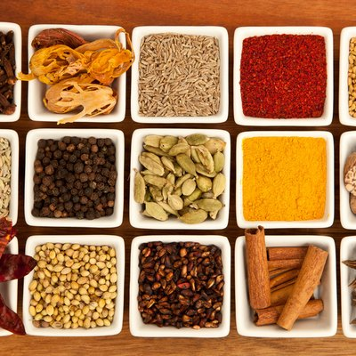 An array of Indian Spices communly used in Indian and south asian cuisine