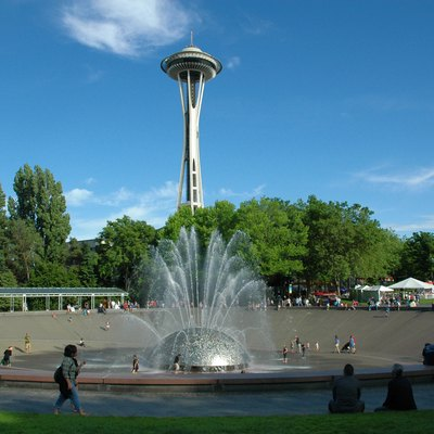 The International Fountain and the Space Needle at the Seattle Center, Seattle, Washington.