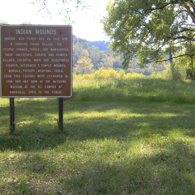 Sign recalling the Irvin Village Site at Cove Lake State Park in Campbell County, Tennessee, in the southeastern United States. Excavated as part of the Norris Basin Project in the 1930s, the site was once home to a substantial Mississippian-period (c. 1000-1500 A.D.) Native American village.