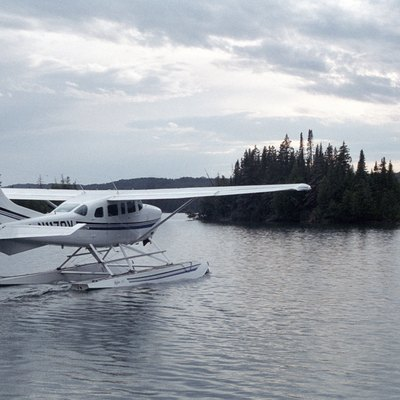 Floatplane taking off from Windigo on Washington Harbor - Beaver Island can be seen in the background at right