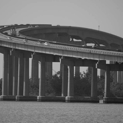 Interstate 210 crosses the Israel LaFleur Bridge in Lake Charles, Louisiana, passing over Prien Lake.