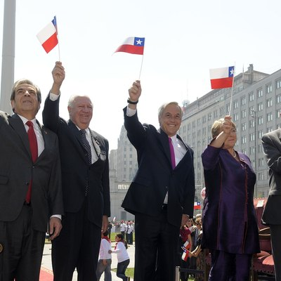 Five presidents of Chile since Transition to democracy (1990–2018), celebrating the Bicentennial of Chile