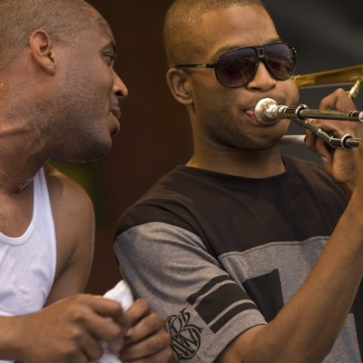 Glen David Andrews with Troy Andrews. New Orleans JazzFest