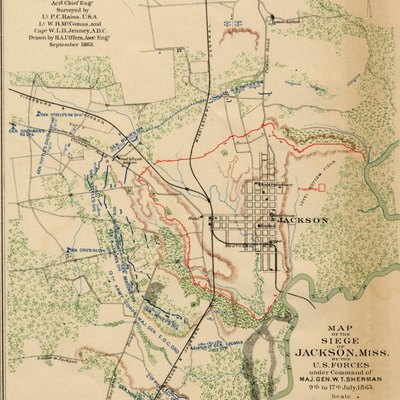 Map of the Siege of Jackson, Miss, 9. - 17. July 1863