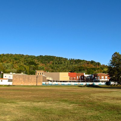 Buildings along North Main Street in Jellico, Tennessee, United States, viewed from the railroad tracks.