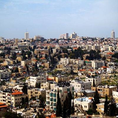 A view of Sheikh Jarrah neighborhood. In the background the city center of Jerusalem.