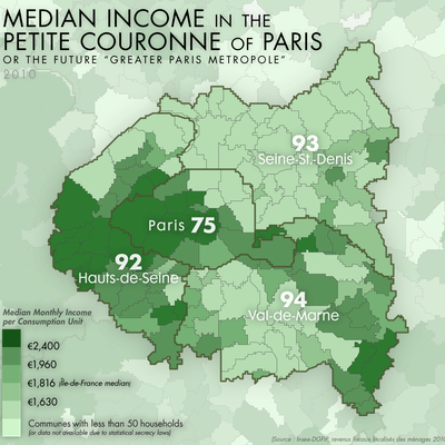 Median income in the petite couronne inner Paris suburb departements of the Île-de-France.