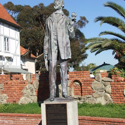 Statue of John Frazier in Carlsbad, California.