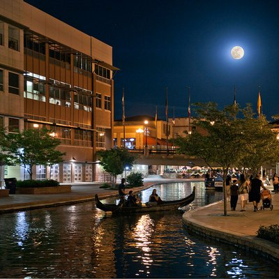 View of Historic Arkansas Riverwalk of Pueblo (HARP) with super moon.