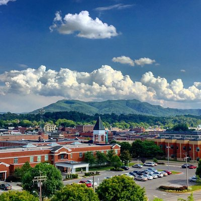 This is a photo of picturesque, downtown Johnson City Tennessee with Buffalo Mountain in the background.