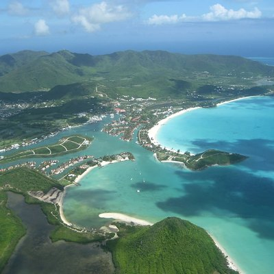 Jolly Harbour on the western coast of the Antigua island, Caribbean.