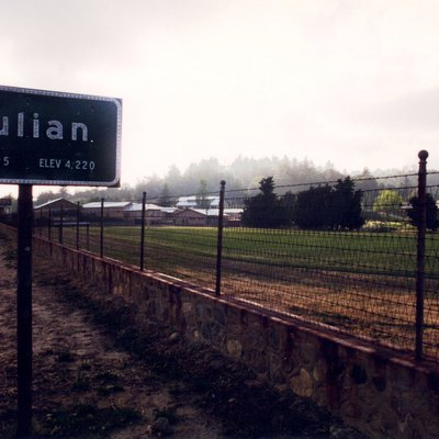 Nameplace for the city of Julian, Ca. My own picture, June 1995.