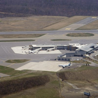 Wilkes-Barre/Scranton International Airport (KAVP/AVP) Terminals as seen from the air.
