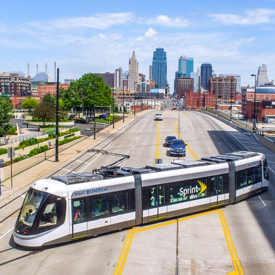 A CAF Urbos 3 streetcar of the KC Streetcar system, in Kansas City, Missouri, leaving the line's Union Station terminus (going away from the camera) on the second day of service.