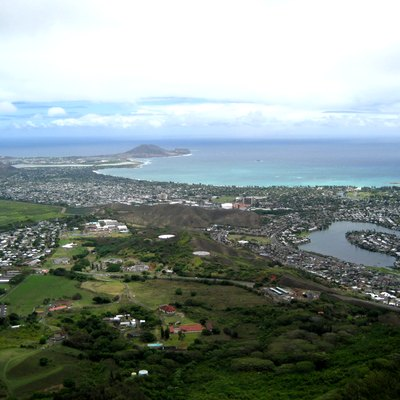 View of Kailua town from the peak of Olomana