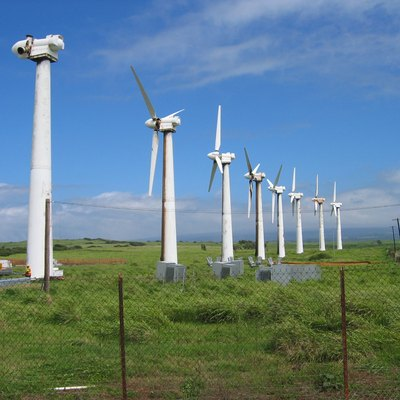 Mitsubishi 250 kW wind turbines of the Kama'oa Wind Farm in Ka Lae (a.k.a. South Point), Big Island of Hawaii. The wind farm came online in 1987, was decomissioned in 2006, and the nearby Pakini Nui wind farm replaced it with 14 larger GE Energy 1.5 MW wind turbines in 2007.