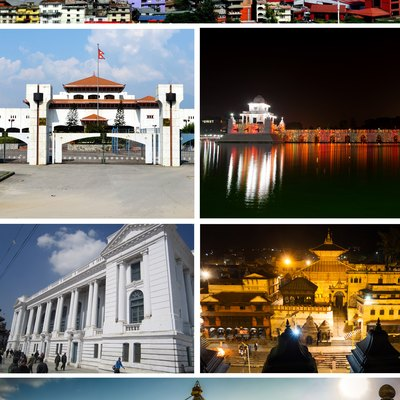 Kathmandu Photo College 2017 ː Clockwise from top: Kathmandu Skyline, Nepalese Parliament Building, Ranipokhari, Kathmandu Durbar Square, Pashupatinath Temple and Boudhanath