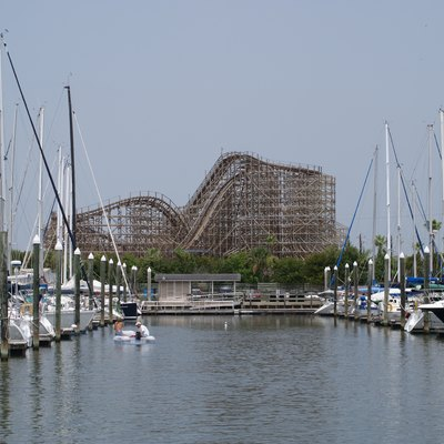 A view of the Kemah Boardwalk Bullet as seen from across the marina.
