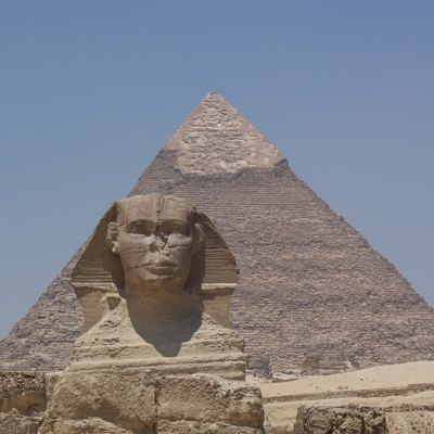 Khafre's Pyramid and the Great Sphinx. Taken by myself. May 25, 2007.
