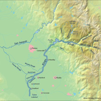 Map of the Kings River watershed in the southern San Joaquin Valley, CA, that drains to the Tulare Lake endorheic basin