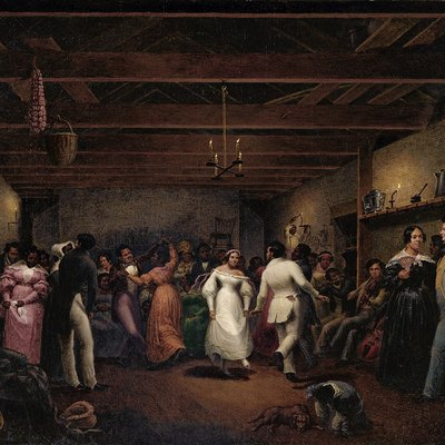 A celebration at a slave wedding in Virginia, 1838