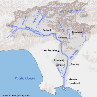 Map of the Los Angeles River basin, CA