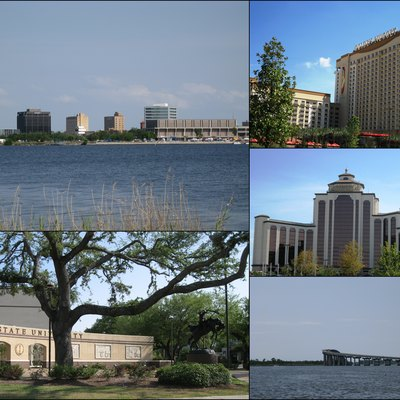 Collage of Lake Charles, Louisiana. Clockwise from top left: Downtown skyline; Golden Nugget Casino; L'Auberge du Lac Casino; Israel LaFleur Bridge; McNeese State University entrance plaza.