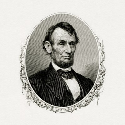 Engraved Bep Portrait Of U.S. President Abraham Lincoln