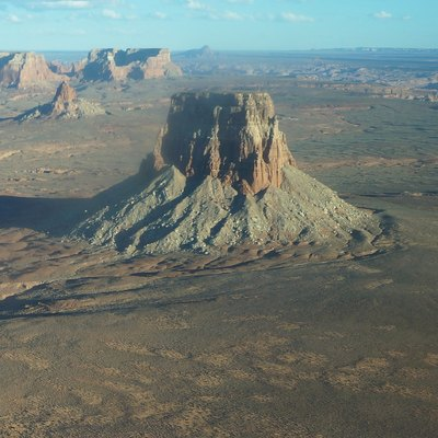 Rising to over 1500 meters above sea level, Tower Butte is a unique rock formation in the world Lake Powell.- Aerial view on Tower Butte' in Arizona, USA